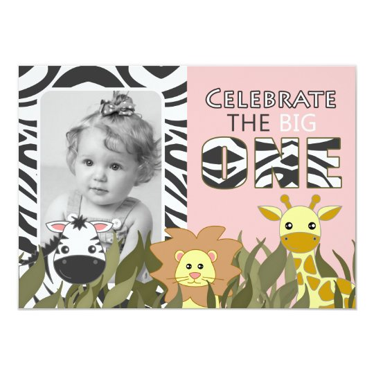 First Birthday Jungle Animal Pink Photo Invite