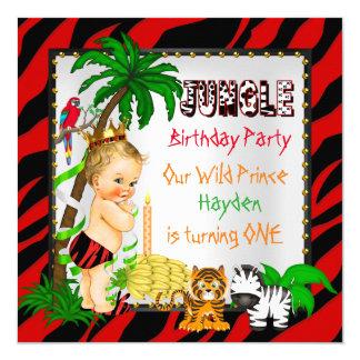 First Birthday Jungle Safari Wild Prince Blonde 13 Cm X 13 Cm Square Invitation Card