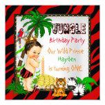 First Birthday Jungle Safari Wild Prince Brunette 13 Cm X 13 Cm Square Invitation Card