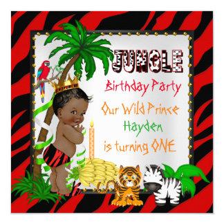 First Birthday Jungle Safari Wild Prince Ethnic 13 Cm X 13 Cm Square Invitation Card