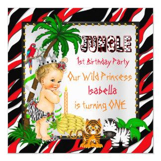 First Birthday Jungle Safari Wild Princess Blonde 13 Cm X 13 Cm Square Invitation Card
