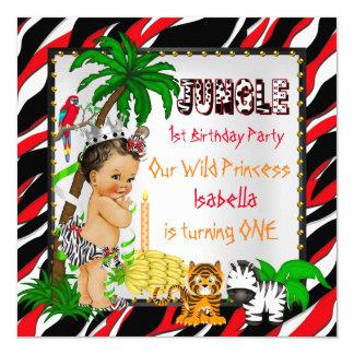 First Birthday Jungle Safari Wild Princess Brown 13 Cm X 13 Cm Square Invitation Card