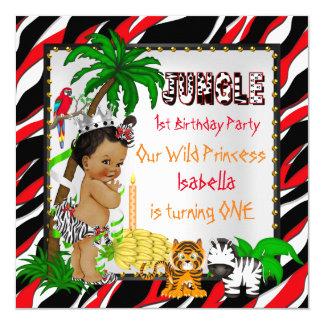First Birthday Jungle Safari Wild Princess Ethnic 13 Cm X 13 Cm Square Invitation Card