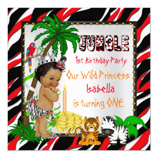 First Birthday Jungle Safari Wild Princess Ethnic Card
