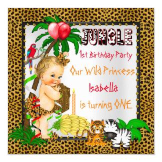 First Birthday Leopard Jungle Safari Wild Blonde 13 Cm X 13 Cm Square Invitation Card