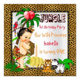 First Birthday Leopard Jungle Safari Wild Brunette 13 Cm X 13 Cm Square Invitation Card