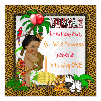 First Birthday Leopard Jungle Safari Wild Ethnic 13 Cm X 13 Cm Square Invitation Card