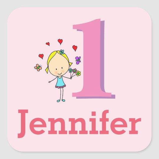 First Birthday, One Year Old, Girl Square Sticker