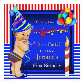 First Birthday Party Boy Blue Red Brunette Baby 13 Cm X 13 Cm Square Invitation Card