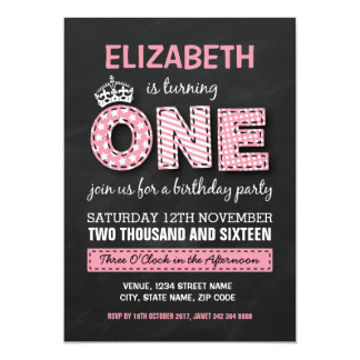 FIRST BIRTHDAY PARTY | CHALKBOARD PRINCESS 13 CM X 18 CM INVITATION CARD
