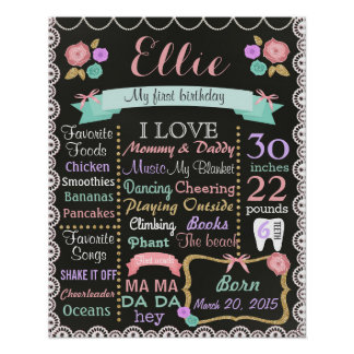 First Birthday Party chalkboard sign Shebby Chic