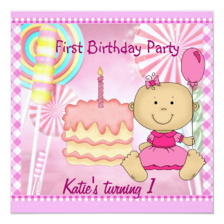 First Birthday Party Child's Girl Pink Cake 13 Cm X 13 Cm Square Invitation Card