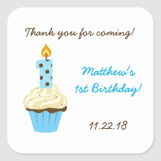First birthday party favour sticker / blue cupcake