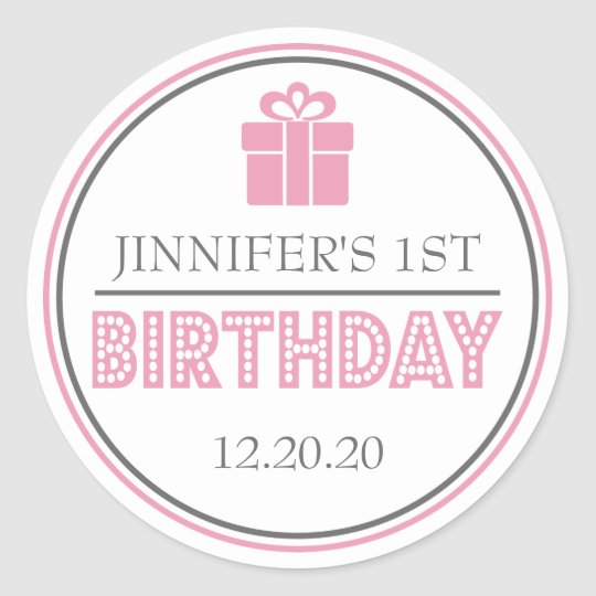 First Birthday Party Favour Stickers (Pink / Grey)