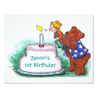 FIRST BIRTHDAY PARTY INVITATION BEAR HOLDING BOY