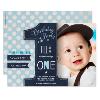 First birthday cards invitations zazzle first birthday party invitation boy chalkboard stopboris Gallery