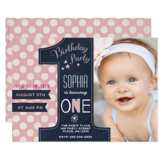 Girl First Birthday Invitations & Announcements | Zazzle.co.uk
