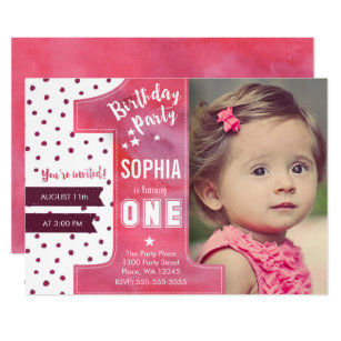 Girl first birthday invitations announcements zazzle first birthday party invitation girl watercolor stopboris Image collections