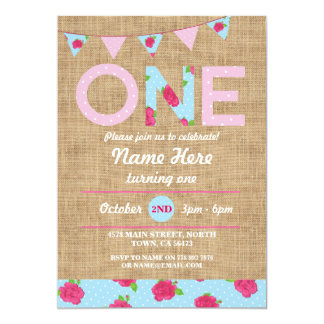 First Birthday Party One Burlap Rose Picnic Invite