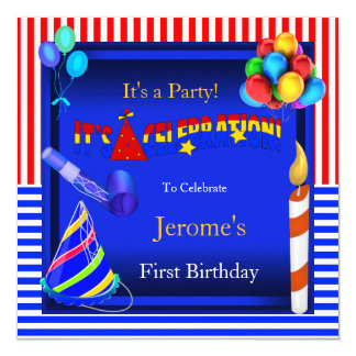 First Birthday Party Red White Blue Boy or Girl 13 Cm X 13 Cm Square Invitation Card