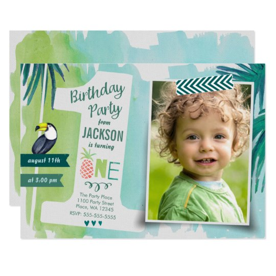 First Birthday Party Tropics Jungle Invitation Boy
