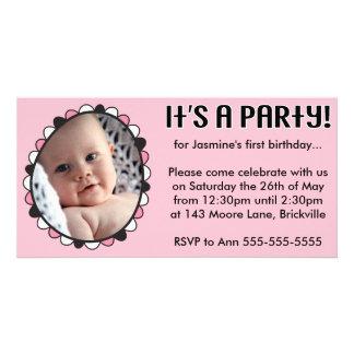 First Birthday Photo Invitation Photo Greeting Card