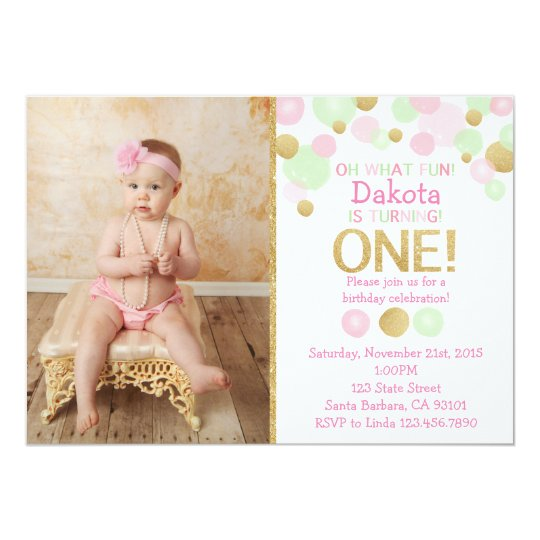 First Birthday Photo Invitation- Pink, Mint, Gold Card