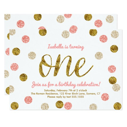 First Birthday-Pink and Gold Glitter Card