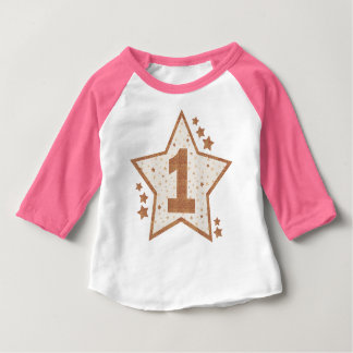 First Birthday Pink and Gold Star Baby T-Shirt
