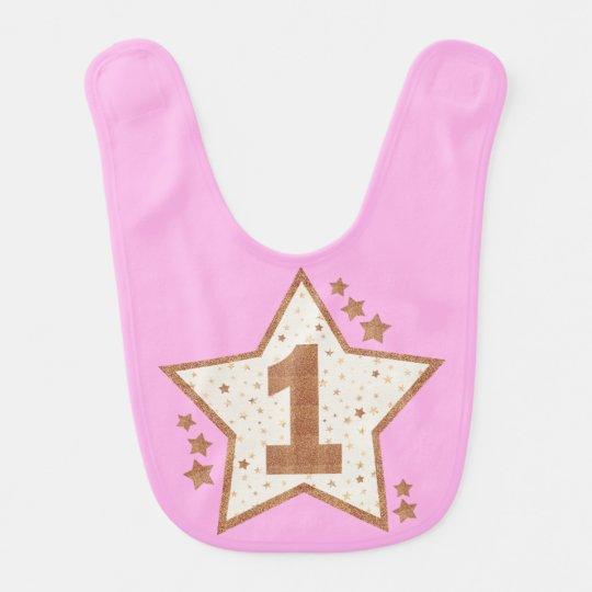 First Birthday Pink and Gold Star Bib