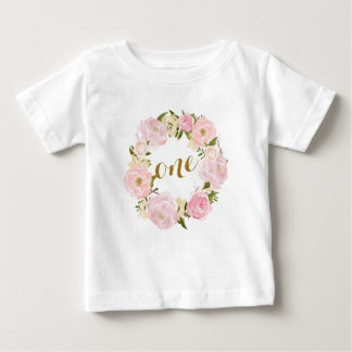 First Birthday Pink Floral T-shirt