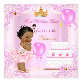 First Birthday Princess Tiara Girl Pink Ethnic 13 Cm X 13 Cm Square Invitation Card