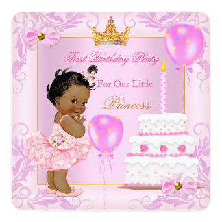 First Birthday Princess Tiara Girl Pink Ethnic 13 Cm X 13 Cm Square Invitation Card