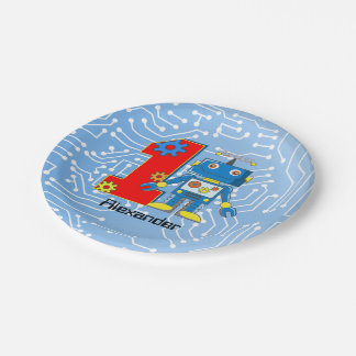 First Birthday Robot Party 7 Inch Paper Plate
