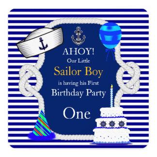 First Birthday Sailor Boy Blue Stripe 13 Cm X 13 Cm Square Invitation Card