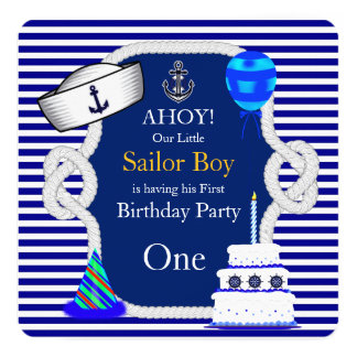 First Birthday Sailor Boy Blue Stripe Card