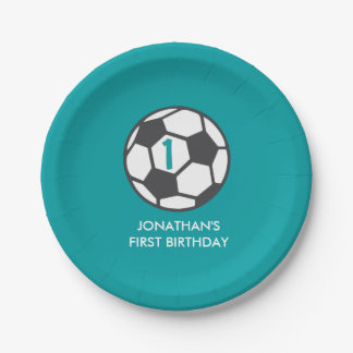 First Birthday Soccer Ball Party Plate 7 Inch Paper Plate