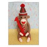 First Birthday Sock Monkey Celebration Greeting Card