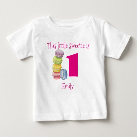 First Birthday Sweet Macarons Personalised Baby T-Shirt