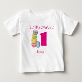 First Birthday Sweet Macarons Personalized Baby T-Shirt