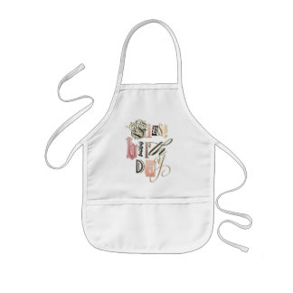 """""""First Birthday"""" Whimsical Letters Kids Apron"""