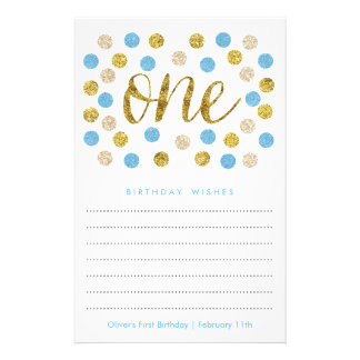 First Birthday Wish Cards | Blue and Gold Glitter