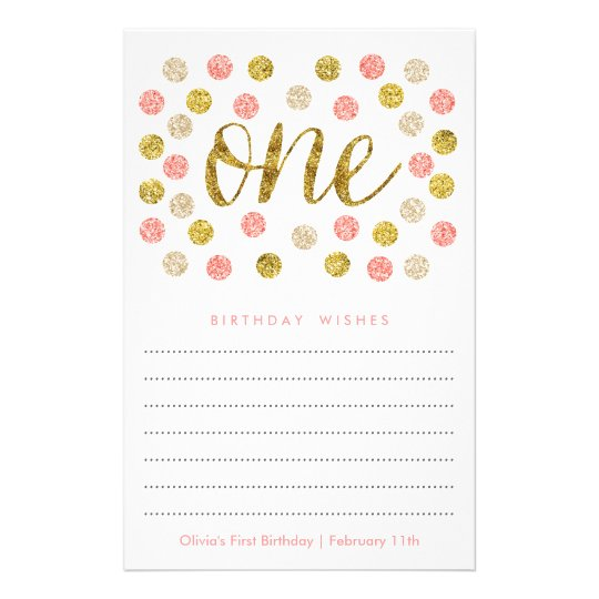First Birthday Wish Cards  Pink and Gold Glitter
