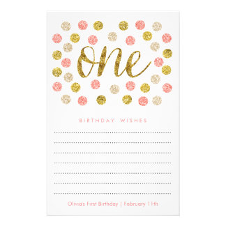 First Birthday Wish Cards |Pink and Gold Glitter 14 Cm X 21.5 Cm Flyer