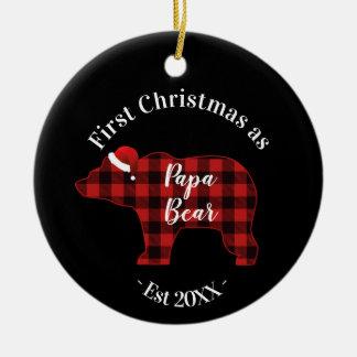 First Christmas as a Papa Bear Buffalo Plaid Christmas Ornament