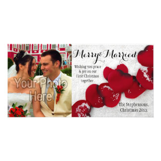 First Christmas as Couple Red Rose Petals in Snow Customized Photo Card