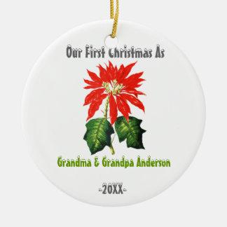 First Christmas As Grandma Grandpa Poinsettia Christmas Ornament