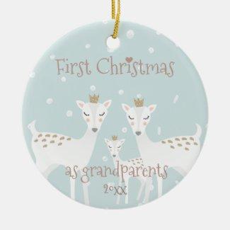 First Christmas as Grandparents - Cute Deer Blue Christmas Ornament
