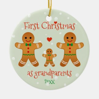 First Christmas as Grandparents - Gingerbread Men Christmas Ornament