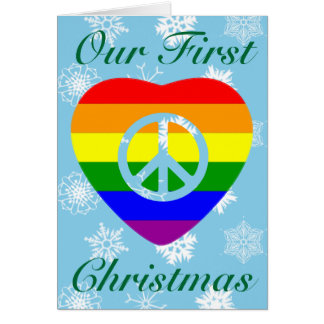 FIRST CHRISTMAS AS MARRIED GAY COUPLE GREETING CARDS
